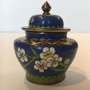 Vintage Small Cloisonne Jar With Lid - Excellent